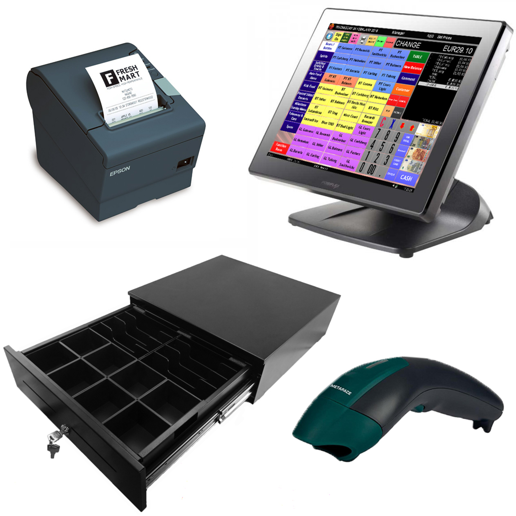 Deluxe Complete ePOS System + Scanner - Posiflex Touchscreen